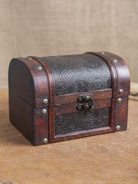 Coffret en bois avec revêtement en cuir