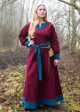 Robe viking Freydis bordeaux/bleue