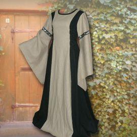 Robe médiévale Frieda en noir et sable