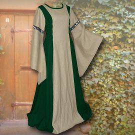 Robe médiévale Frieda en sable et vert