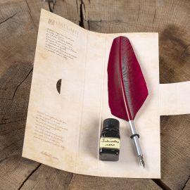 Set de calligraphie avec plume rouge