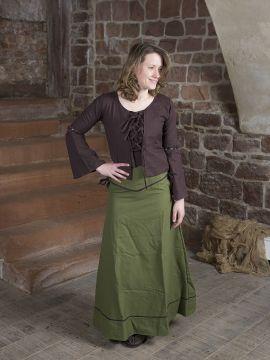 Blouse médiévale à lacets en marron