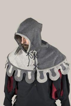 Bonnet médiéval à festons, 2 tons de gris