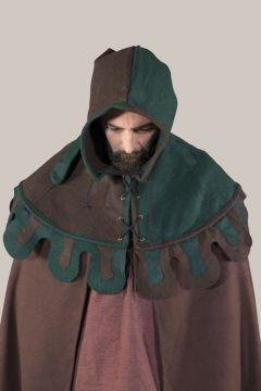 Bonnet médiéval en laine à festons, vert et marron