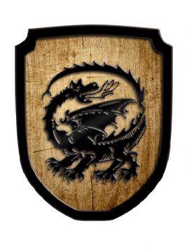 Bouclier en bois motif dragon