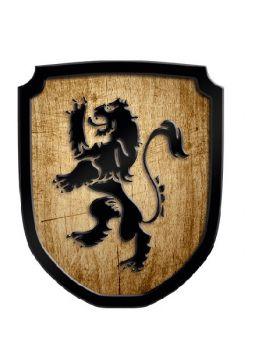 Bouclier en bois motif lion