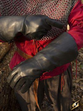 Gant de fauconnier en cuir noir - imitation