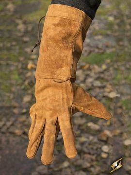 Gants en cuir suédé marron