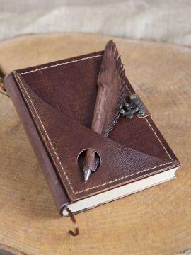 Carnet d'écriture en cuir marron, petit modèle