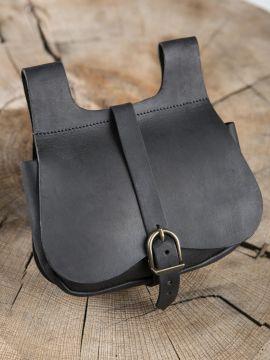 Sacoche médiévale en cuir noir