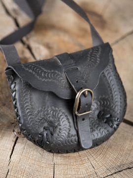 Sac en cuir noir à motifs ourlés