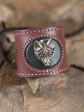 Bracelet en cuir Tête de Loup Fenris