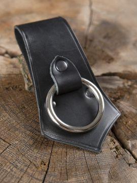 Porte-hache en cuir noir avec anneau