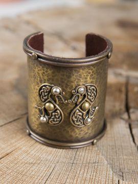 Bracelet manchette en laiton, motif  serpent
