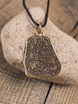 """Pendentif """"pierre runique"""" en bronze"""
