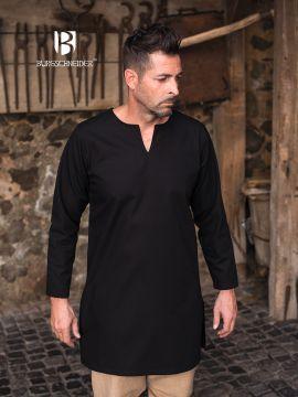 Tunique en coton non peigné en noir XL