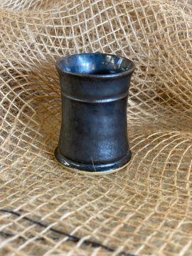 Petit gobelet en céramique émaillé bleu gris