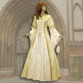 Robe médiévale Iris jaune-crème
