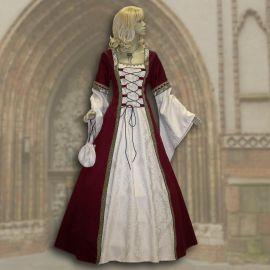 Robe médiévale Iris bordeaux-crème