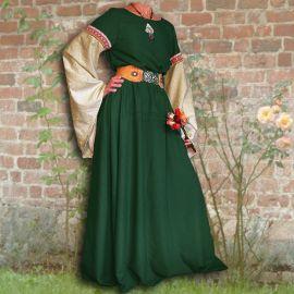 Robe médiévale Johanna à capuche en vert