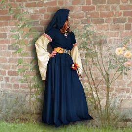 Robe médiévale Johanna à capuche en marine