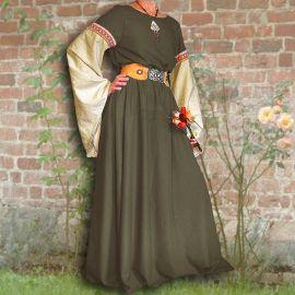 Robe médiévale Johanna à capuche en vert olive