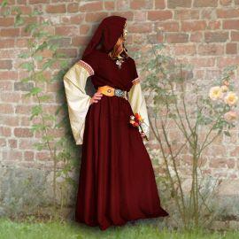 Robe médiévale Johanna à capuche en rouge