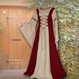 Robe médiévale Catherine en bordeaux et sable