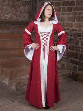 Robe médiévale Ottilia en rouge et blanc