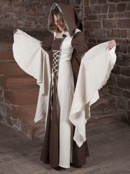 Robe Médiévale Anna en écru et marron