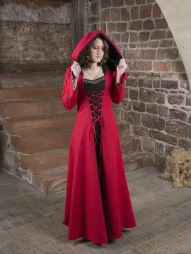 Robe médiévale Veronica en noir et rouge