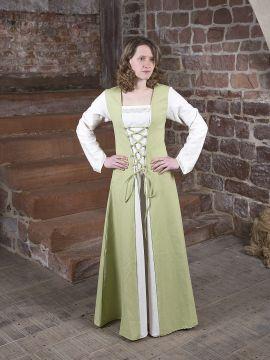 Robe médiévale Jacqueline en crème et vert clair