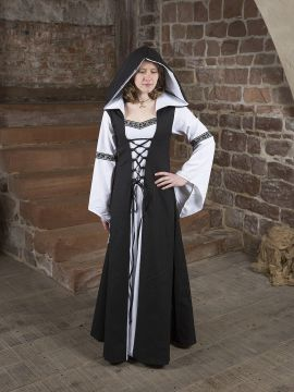 Robe médiévale Irmel en noir et blanc