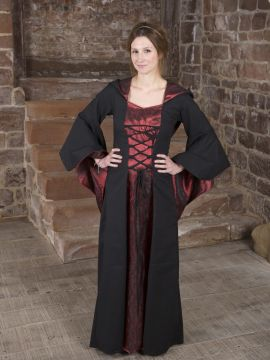 Robe Médiévale Gretlin en noir et rouge
