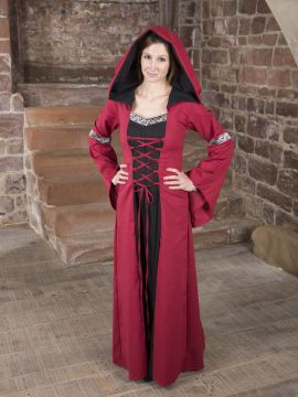 Robe médiévale Helena en rouge et noir
