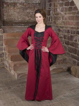 Robe médiévale Evanna en noir et rouge