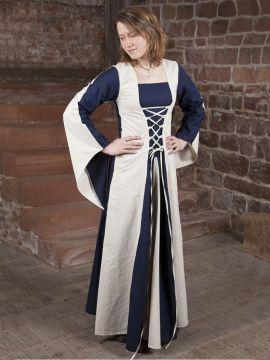 Robe médiévale Heidi en bleu et blanc