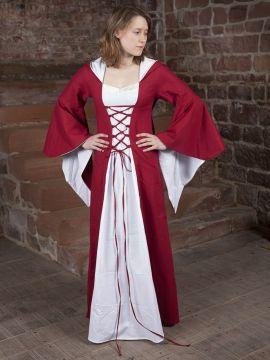 Robe médiévale Dorothée en rouge et blanc