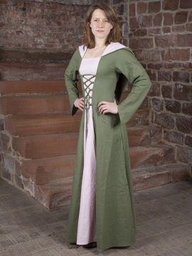 Robe médiévale Luna en vert et rose pale
