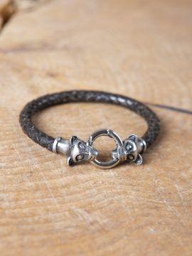 Bracelet antique en cuir tréssé à têtes de loup
