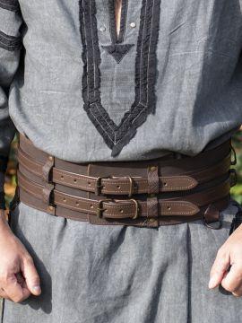 Ceinture viking double marron foncé 120 cm