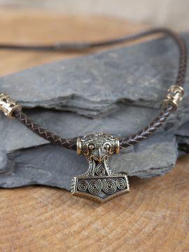 Collier en cuir marron avec pendentif marteau en bronze