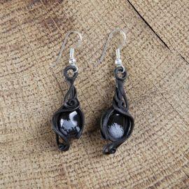 Boucles d'oreilles avec obsidienne