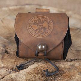 Petit sac de ceinture en cuir, motif arbre de vie en marron