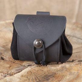 Petit sac de ceinture en cuir Triskele en noir