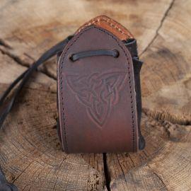 Sac en cuir noir, motif noeud celtique