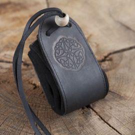 "Sac en cuir noir, motif ""noeud celtique"""