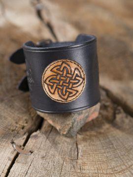 Bracelet en cuir noeud celtique noir