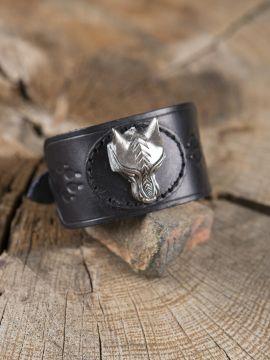 Bracelet en cuir tête de loup fenrir en noir