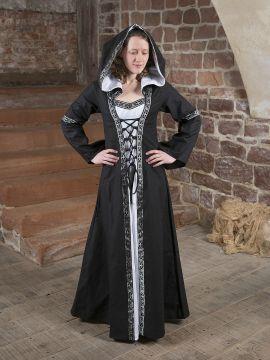 Robe médiévale Brida en noir et blanc
